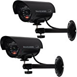 WALI Bullet Dummy Fake Surveillance Security CCTV Dome Camera Indoor Outdoor with one LED Light + Warning Security Alert Sticker Decals WL-TC-B2, 2 Pack