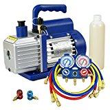 ZENY Combo 3,5CFM 1/4HP Air Vacuum Pump HVAC A/C Refrigeration Kit AC Manifold Gauge Set