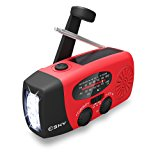 Esky Solar Weather Radios Hand Crank Self Powered Emergency FM/AM/NOAA Radio with LED Flashlight and 1000mAh Red
