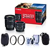Canon Portrait & Travel 2 Lens Kit - EF 50mm f/1.8 STM Lens & EF-S 10-18mm f/4.5-5.6 IS STM Lens - Bundle with 49mm/67mm Uv Filters, Small Lens Pouch, Medium Lens Pouch, Cleaning Kit