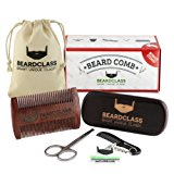 BEARDCLASS - Beard Comb and Brush - 2 in 1 Dual Sided Coarse and Fine Teeth for Long and Short Beards - Bonus Items: Beard Brush, Mustache Comb and Scissors Set - 100% Natural Sandalwood Men's Beard