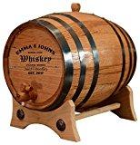Personalized - Customized American White Oak Aging Barrel - Barrel Aged (2 Liters, Black Hoops)