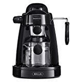 BELLA Personal Espresso Maker with Built-in Steam Wand and 5 Bar Pressure, black