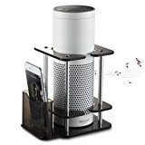 [Black Friday Deal] #1 Echo Stand- OnForward Acrylic Speaker Stand for Alexa Amazon Echo Plus and 1st Generation Echo, with Remote Holder, Black, Enhanced, Stabilize from Kid for UE Megaboom Boom