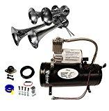 Viking Horns V3305/4008 Loud 149 Decibels Chrome 4 Trumpet Train Air Horn Kit