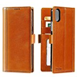 iPhone X Wallet Case Leather -- iPulse Journal Series Italian Full Grain Leather Handmade Flip Case For iPhone X with Magnetic Closure - Cognac