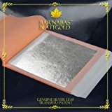 Barnabas Blattgold: Professional Quality Genuine Silver Leaf Sheets, 25 Sheets, 3-3/4 inches (Transfer/ Patent)