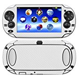 Decalrus - PlayStation PSP Vita WHITE Carbon Fiber skin skins decal for case cover wrap CFvitaWhite