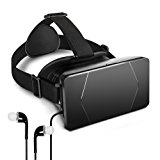 VR Glasses - Emixc 3D Virtual Reality Headset VR Goggles Box with Adjustable Strap and Lens for 3.5-6.0 Inch Smartphone iPhone 7/6S/6 Plus Galaxy S8/S7 Edge 3D Movies Games - Black