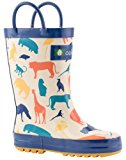 Oakiwear Kids Rubber Rain Boots with Easy-On Handles | Timberland Critters, Forest Animals, Pink Flowers