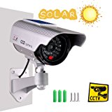 Iseeusee Solar Powered Dummy Surveillance Bullet Fake Camera With Flashing Led-Grey Battery Recharged by Sun, Home or Business, Silver