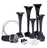 Zone Tech 12V 5 Trumpet Dixie Air Horn - Premium Quality 5 Black Trumpet Air Horn + Compressor Super Loud 125db