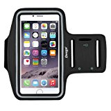 DEEGO Sports Running Armband with Water-Resistant Screen Protector & Key Holder for IPhone 7/6/6s Plus,Galaxy S8 S7 S6 Edge 5.5 Inch - Black