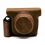 Fujifilm Instax Wide 300 Instant Film Camera Case with strap,Hellohelio Vintage Leatherette limited Edition groove Bag - Brown