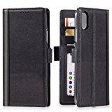 iPhone X Wallet Case Leather -- iPulse Journal Series Italian Full Grain Leather Handmade Flip Case For iPhone X iPhone 10 with Magnetic Closure - Black