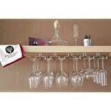 Under Cabinet Wine Glasses Rack Kit - With Polishing Cloth | Wall Mounted Storage Organizer for Up to 18 Stemmed Glasses | Chromed Iron Stemware Holder with Drying Bar