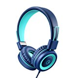 Kids Headphones - noot products K11 Foldable Stereo Tangle-Free 3.5mm Jack Wired Cord On-Ear Headset for Children (Navy/Teal)