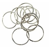 Bilipala 10 Pcs Loose Leaf Binder Rings Book Ring Keychain, Silver, 1.5-Inches