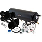 Vixen Horns Loud 149dB 4/Quad Black Trumpet Train Air Horn with 3 Gallon Tank and 200 PSI Compressor Full/Complete Onboard System/Kit VXO8330/4114B