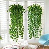 "XHSP 2pcs Artificial Green Ivy Vine Potato Leaves Garland Plants Vine Fake Foliage Home Decor,35"""