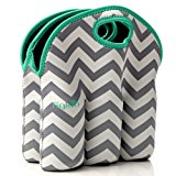 Neoprene 6 Pack Bottle Carrier, Extra Thick Insulated Baby Bottle Cooler Bag Keeps Baby Bottles Cold or Warm Great as Baby Shower Gift (gray chevron aqua trim)