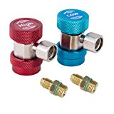 """Orion Motor Tech Adjustable R134A Quick Coupler Connector Adapter with 1/4"""" SAE Fitting for High Low AC HVAC Manifold Gauge & Hose Set"""