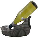 Funny Gray Kitty Cat Wine Bottle Holder Sculpture for Unique Tabletop Wine Racks & Stands or Feline Statues and Animal Figurines As Holiday Gifts for Pet Owners