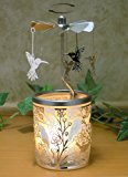 Spinning Hummingbird Candle Holder - Silver Birds Spin Around the Frosted Glass Candle Holder