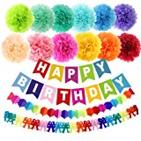 "APLANET 15pcs 10"" Birthday Paper Pom Poms (12 Colors), Happy Birthday Party Bunting Banner, Rainbow Paper Garland for Birthday Party Decorations"