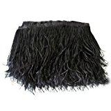 Lanshi Ostrich Feathers Trims Fringe with Satin Ribbon Tape for Dress Sewing Crafts Costumes Decoration Pack of 2 Yards (Black)