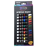 Erin's Acrylic Paint Set 12 Color(12ml) tubes Multi-surface including Metal, Canvas, Clay, Ceramic, Fingernails,Wood and Crafts. Non-Toxic, students and professional quality