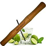Mojito Muddler 11 In Professional-Grade Bamboo w Free Bar Spoon - Best Drinks and Cocktails Bar Tool; Won't Shred or Taint Like Plastic, Stainless Steel or Cheap Wooden Muddlers (Bartenders LOVE It)