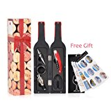 Wine Opener Accessory Set- Includes Corkscrew, Stopper, Foil Cutter, Wine Pourer, Drip Ring w/ Reusable Drink Marker Stickers in Gift Box for Wine Lover, Holiday, Wedding, Housewarming, Anniversary