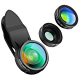 KeeKit Cell Phone Camera Lens Kit, 3-IN-1 Phone Lens with 198° Fisheye Lens + 0.4X 140° Wide Angle Lens + 15X Macro Lens for iPhone 8/7/7 Plus/6S/6/6 Plus/5S, Samsung Galaxy/Note & Most Smartphones