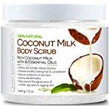 Pure Body Naturals Coconut Milk Body Scrub Exfoliator with Dead Sea Salt, 12 Ounce