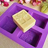 Kakasogo 2017 Newest 4 Cavity Flower Tree Rectangular Silicone Soap Cake Chocolate Mold Trays DIY Handmade Cupcake Baking Candle Craft Art Pans Flexible Sturdy Mould Tool Set(Random Color)