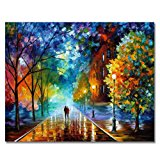 Rihe DIY Oil Painting Paint By Numbers Kits with Brushes Acrylics Painting Kits on Canvas for Adults Kids Beginner - Romantic Night 16x20 Inch(Wooden framed)