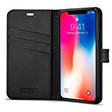 Spigen Wallet S iPhone X Case with Foldable Cover and Kickstand Feature for Apple iPhone X (2017) - Black