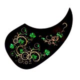 Acoustic Spanish Guitar Pickguard Anti-scratch, Tear Drop Comma Shape. Black With Patterns. Free and Fast Shipping! (From Magik Wagon)