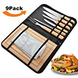 ROMANTICIST 9Pcs Carving Knife Set in Handy Storage Bag - Stainless Steel Cutlery Set with Rubber Wood Handle - Ideal Gift Set for Men