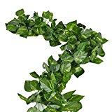 RURALITY 16 Ft - 2 Artificial Ivy Silk Greenery Fake Hanging Vines Wedding Garland ,Epipremnum Aureum, Pack of 2