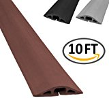 D-2 Rubber Duct Cord Cover - Length: 10FT - Color: Brown Cable Protector