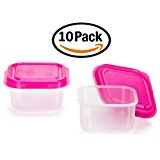 Creative Hobbies Mini Plastic Slime Storage Jar Containers, Craft Hobby and Office Storage, 10 Piece Pack, Pink Lids