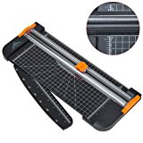 JIELISI Paper Trimmer A4 Titanium Paper Guillotines Scrapbooking with Finger Protection and Slide Ruler Design, Black
