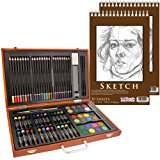 """US Art Supply 82 Piece Deluxe Art Creativity Set in Wooden Case with 9""""x12"""" 90lb 30 Sheet Sketch Pad"""