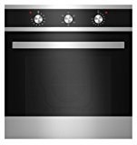 "Empava KQP65A-16-220V Tempered Glass Electric Built-In Single Wall Oven, 24"" Black/Silver"