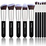 BS-MALL(TM) Makeup Brushes Premium Makeup Brush Set Synthetic Kabuki Makeup Brush Set Cosmetics Foundation Blending Blush Eyeliner Face Powder Lip Brush Makeup Brush Kit(10pcs, Silver Black)