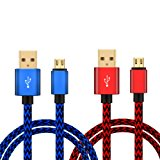 2pcs Pack Nylon Braided PS4 Controller Charging Cable Sync Cord Charger for Sony Playstation 4 Dualshock 4 PS4 Slim / Pro Controller, Microsoft Xbox One S / X Controller, Android, Samsung
