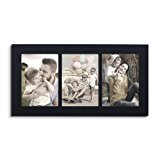 Adeco Decorative Black Color Wood Divided Wall Hanging Artwork Print Picture Photo Frame, 3 Opening 5x7""