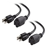 Cable Matters 2-Pack 16 AWG Heavy Duty AC Power Extension Cord in 3 Feet (NEMA 5-15P to NEMA 5-15R)